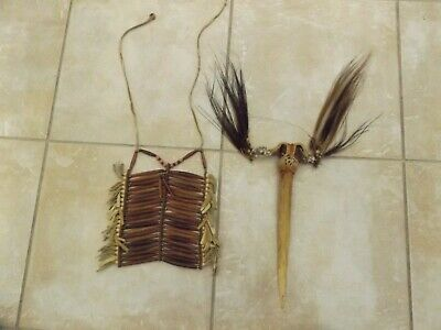 Indian Chest Breast Plate and Bone Weapon