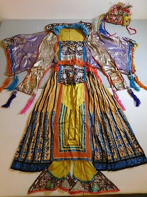 1930s-1950s Chinese SILK Traditional Wedding Costume China Multi Colored