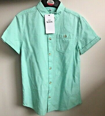 Marks & Spencer Boys Shirt Age 9-10 Years Textured Green Casual NEW BNWT