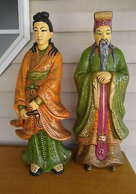 """VTG Large Hand painted ceramic Asian/Chinese Couple. 20"""" tall. Beautiful."""