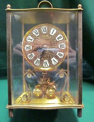 """VINTAGE KUNDO BRASS ANNIVERSARY CLOCK WEST GERMANY etched glass 9"""" T. Working"""