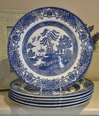 Willow Pattern Dinner Plates 9.5'' English Ironstone Set Of Six   (refX88)