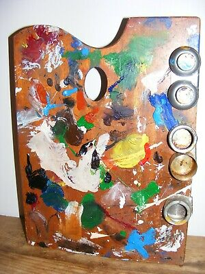 ARTIST'S WOODEN PALETTE USED FUNKY DECORATIVE DISPLAY Apx 37cm x 27cm