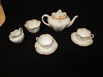 Antique Wileman/Shelley Tea Set > Teapot - Cream & Sugar & 2 Cups And 2 Plates