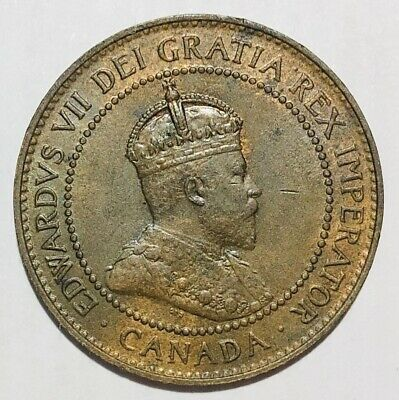 1906 Large 1 Cent Coin  King Edward VII CANADA - Some Red