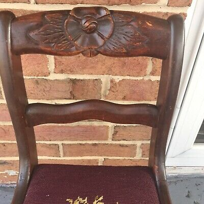 1940's vintage salesman sample Carved Roses Chair Orig Finish Children
