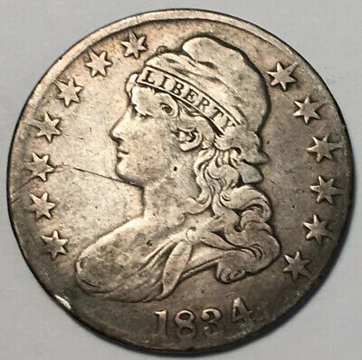 1834 US Capped Bust Silver Half Dollar - Historic catch.