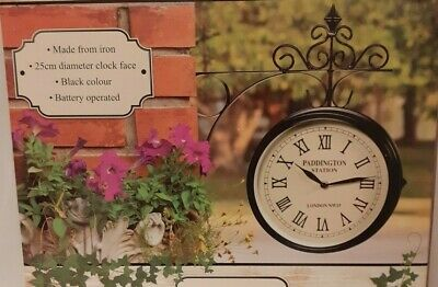 Wall Mounted Double Sided Station Garden Clock