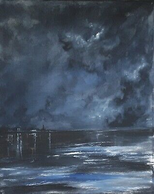 Original artwork seascape abstract acrylic impressionist canvas painting
