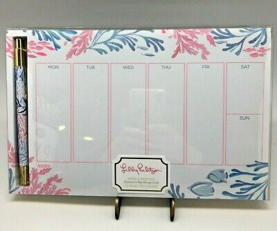 Weekly Desk Pad with Pen in Kaleidoscope Coral by Lilly Pulitzer