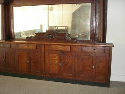 Back Bar Antique Great Condition Cherry Wood Mirror Cornice Cabinet