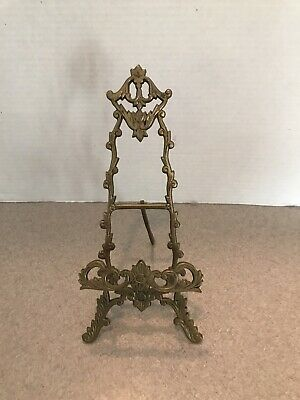"Victorian Style Ornate 10.5"" Brass Table Top Easel Picture Plate Display Stand"