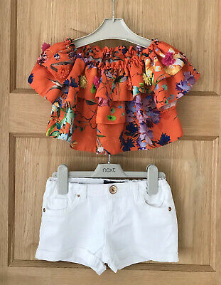 RIVER ISLAND *5-6y GIRLS SHORTS & CROPPED TOP Summer outfit AGE 5-6 YEARS