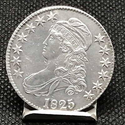 1825 Capped Bust Silver Half Dollar 50C, Nice Details.