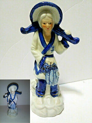 2 Vintage Blue And White Porcelain Asian/Oriental Fisherman and Woman Figurines