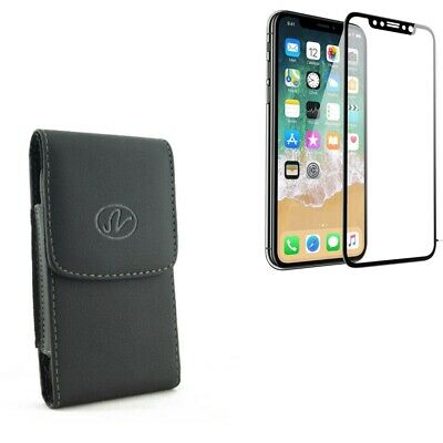 iPhone 11 Pro - Tempered Glass Screen Protector w Leather Case Belt Clip