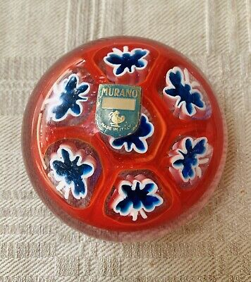 Vintage MURANO Glass Handblown Paperweight Red w/ Butterflies Italy