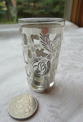 Vintage Sterling Silver Filigree Overlay on Cordial Shot Glass - Mexico 925