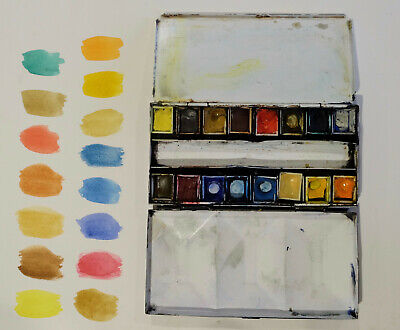 Old Winsor and Newton artists watercolours box half pans