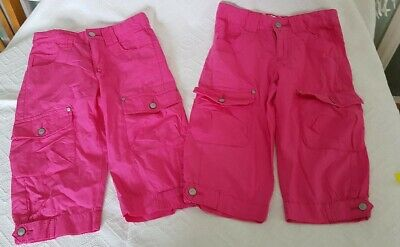 2 Girls Pink Cropped Capri / Cargo Trousers Pants Age 8-9 Years Adjust Waist VGC