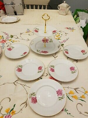 Pink roses bone china two tier Cake stand & five 6 INCH plates  VINTAGE PARTY
