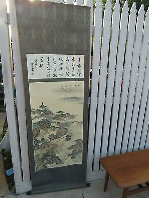 vintage Hand Painted Asian Scroll Art Chinese Scenic Painting Stamped  182cm