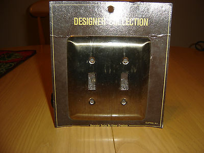 Antique Brass Stamped Metal Double Light Switch Plate Outlet Cover
