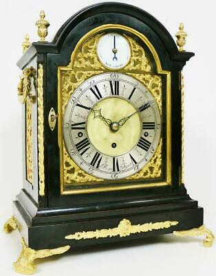 Antique 19thC English Ebony & Bronze Triple Fusee 8 Bell Musical Bracket Clock