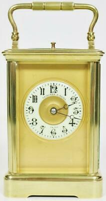 Antique French 8 Day Masked Dial Carriage Clock Brass Repeater Carriage Clock