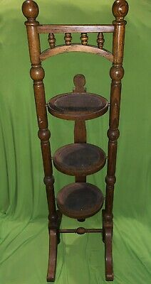 Vintage Folding Solid Wood 3 Tier Pie Rack Stand Plant Stand Pastry Display