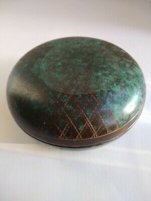 1930's WMF IKORA Verde Green Covered Box - Brass Copper Arts & Crafts Period