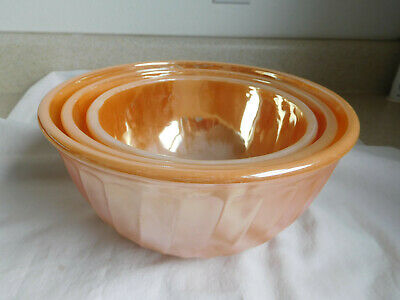 PEACH LUSTER Fire King NESTING BOWLS set of 3 SWIRL Ribbed vintage