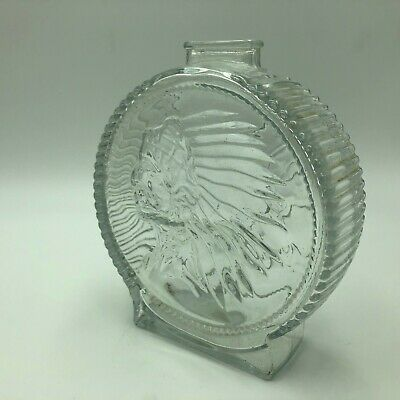 Vintage Indian Head Buffalo Nickel Clear Glass Bank Round Money Storage Used