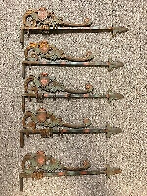 Antique Victorian Swing Arm Cast Iron Expandable Crown Curtain Drapery Rods Set
