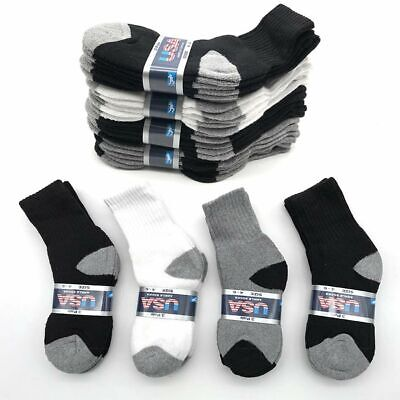 Lot 6 -12 Pairs Solid Child Kids Sports Athletic Crew Socks Cotton Size 2-8 New