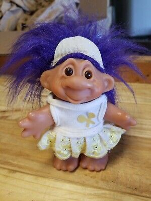 """Vintage Dam Troll Doll 5"""" with  Women's Tennis Skirt from 1986 with Purple Hair"""