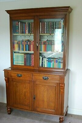 Antique oak bookcase. Lovely cared for condition. Solid Oak display cabinet.