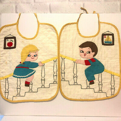 Applique Baby Bib Boy Girl Sliding Down Stairs Handmade Embroidered Pair