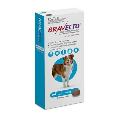 Bravecto Chew Oral Tick and Flea Treatment for 20-40kg Large Blue 1's (B0204)