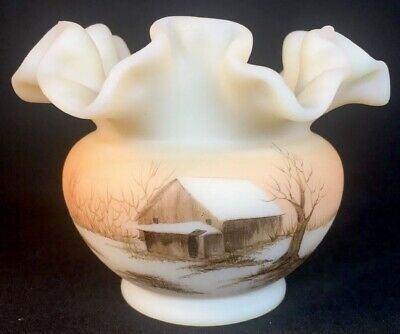 "Fenton Art Glass Hand Painted ""Sunset"" On Cameo Satin Rose Bowl 1980"