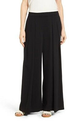 Eileen Fisher 171122 Womens High Rise Pleated Wide-Leg Pants Black Size Small