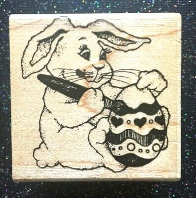 """Easter Vintage Rubber Stamp """"Bunny Decorating Egg"""" by Fun Stamps 2 x 2"""""""