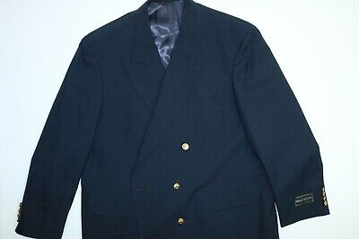 Mens Charing Cross Navy Wool Blend Double Breasted Sports Coat Blazer Big & Tall