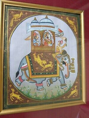 Antique  PERSIAN  ELEPHANT  SCENE  HAND PAINTED ON SILK ORIENTAL ART FRAMED VNT