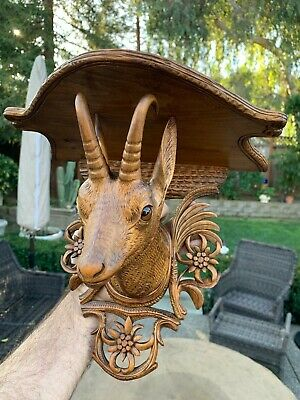 Antique Black Forest German Carved / Brienz Swiss Goat & Edelweiss Shelf Bracket