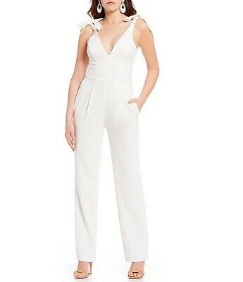 Dress the Population Women's Size S Maria White Tie-up Strap Sleeveless Jumpsuit