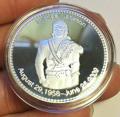 """1 oz Michael Jackson """"The King Of Pop"""" Memorial Finished in 999 Fine Silver"""