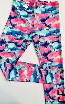 Move 2 The Beat Justice Pants Tie Dye Blue Mint Pink Girls 16 Dance Leggings NWT