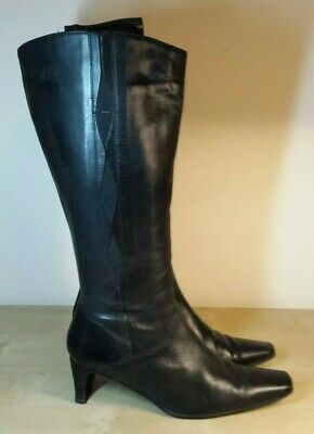 LEA SOFT - UK 6 Black Leather Knee High Side Zip Boots EU 39 - Made in Italy