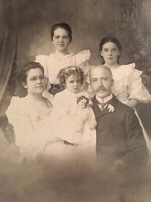 CABINET CARD ~ Antique Family Photo 1899 ~ 3 Daughters w Doll ~ San Francisco ~